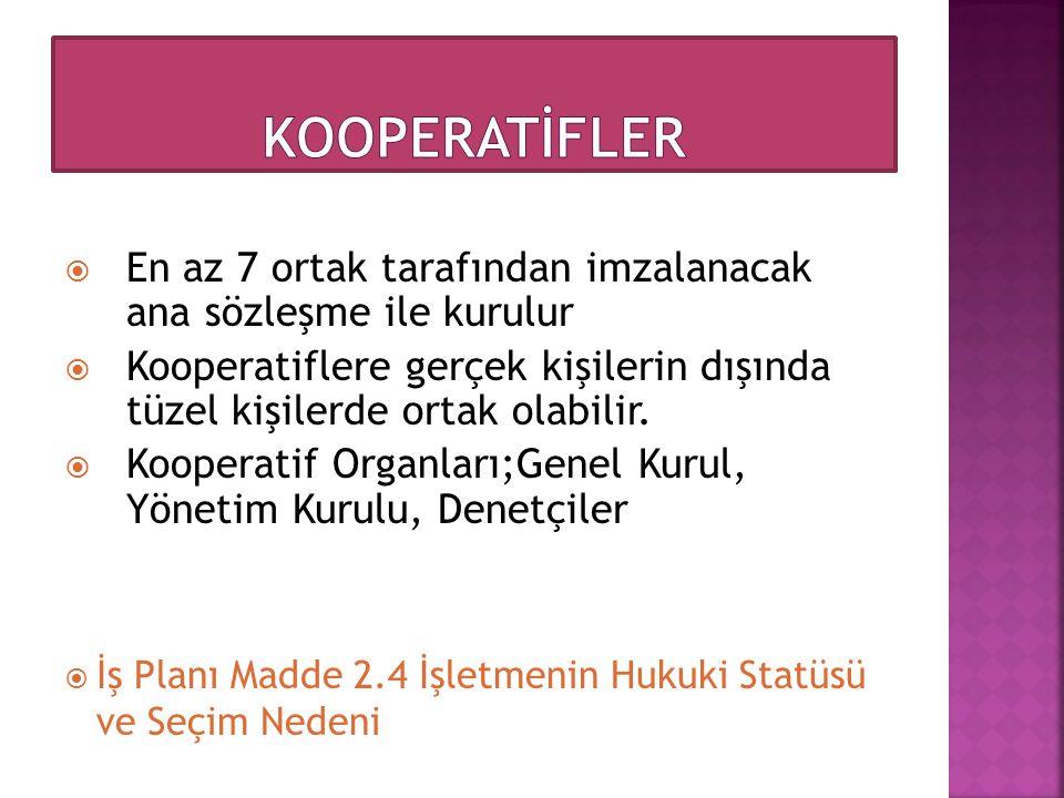 KOOPERATİFLER En az 7 ortak tarafından imzalanacak ana sözleşme ile kurulur.
