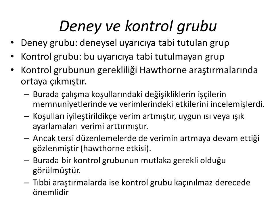 Deney ve kontrol grubu Deney grubu: deneysel uyarıcıya tabi tutulan grup. Kontrol grubu: bu uyarıcıya tabi tutulmayan grup.