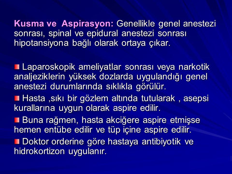 Kusma ve Aspirasyon: Genellikle genel anestezi sonrası, spinal ve epidural anestezi sonrası hipotansiyona bağlı olarak ortaya çıkar.
