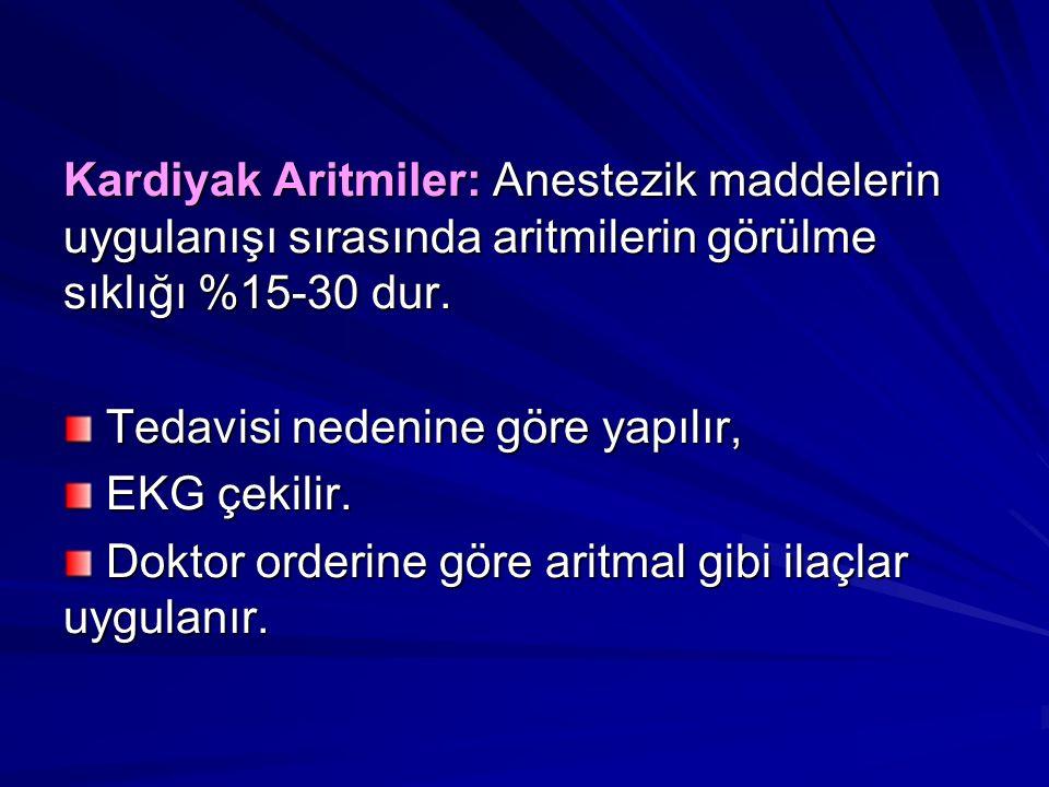 Kardiyak Aritmiler: Anestezik maddelerin uygulanışı sırasında aritmilerin görülme sıklığı %15-30 dur.