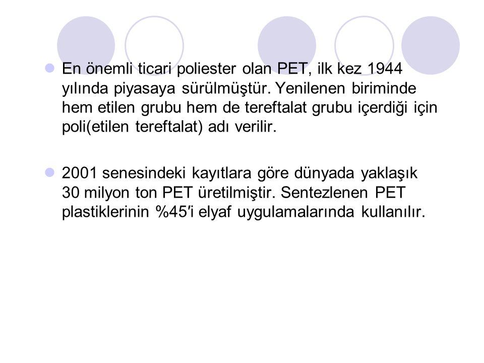 En önemli ticari poliester olan PET, ilk kez 1944 yılında piyasaya sürülmüştür. Yenilenen biriminde hem etilen grubu hem de tereftalat grubu içerdiği için poli(etilen tereftalat) adı verilir.