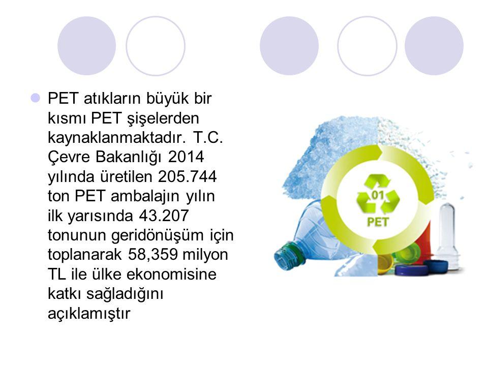 PET atıkların büyük bir kısmı PET şişelerden kaynaklanmaktadır. T. C