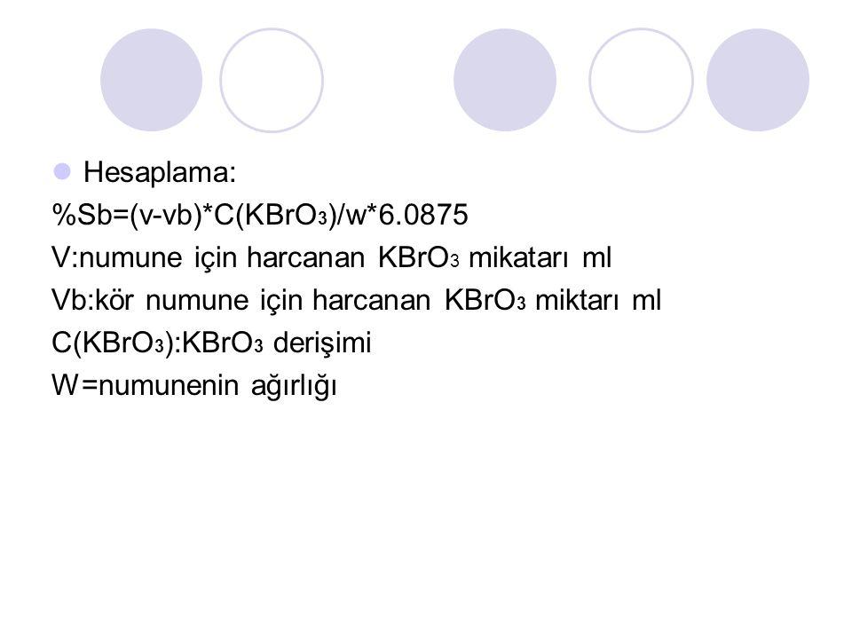 Hesaplama: %Sb=(v-vb)*C(KBrO3)/w*6.0875. V:numune için harcanan KBrO3 mikatarı ml. Vb:kör numune için harcanan KBrO3 miktarı ml.
