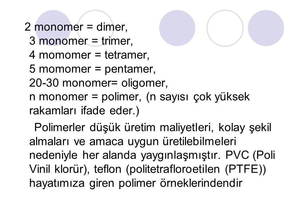 2 monomer = dimer, 3 monomer = trimer, 4 momomer = tetramer, 5 momomer = pentamer, 20-30 monomer= oligomer, n monomer = polimer, (n sayısı çok yüksek rakamları ifade eder.)