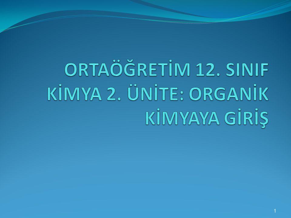 ORTAÖĞRETİM 12. SINIF KİMYA 2. ÜNİTE: ORGANİK KİMYAYA GİRİŞ