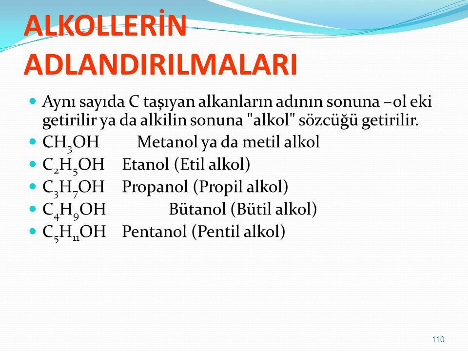 ALKOLLERİN ADLANDIRILMALARI