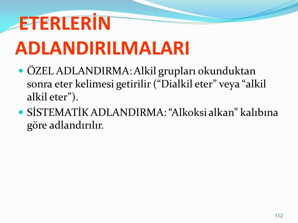 ETERLERİN ADLANDIRILMALARI