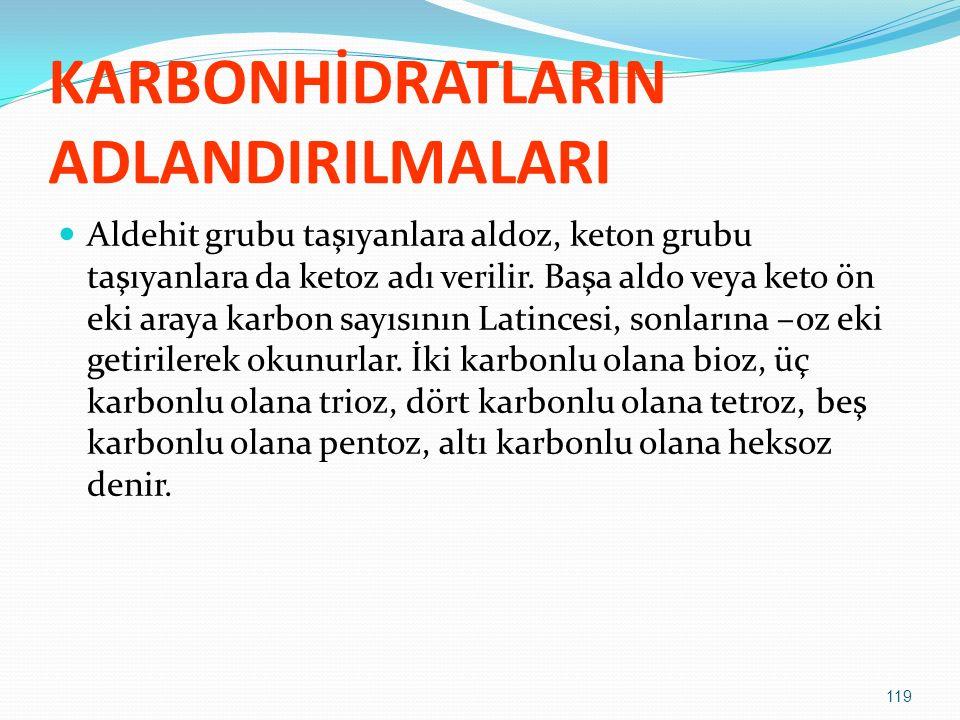 KARBONHİDRATLARIN ADLANDIRILMALARI