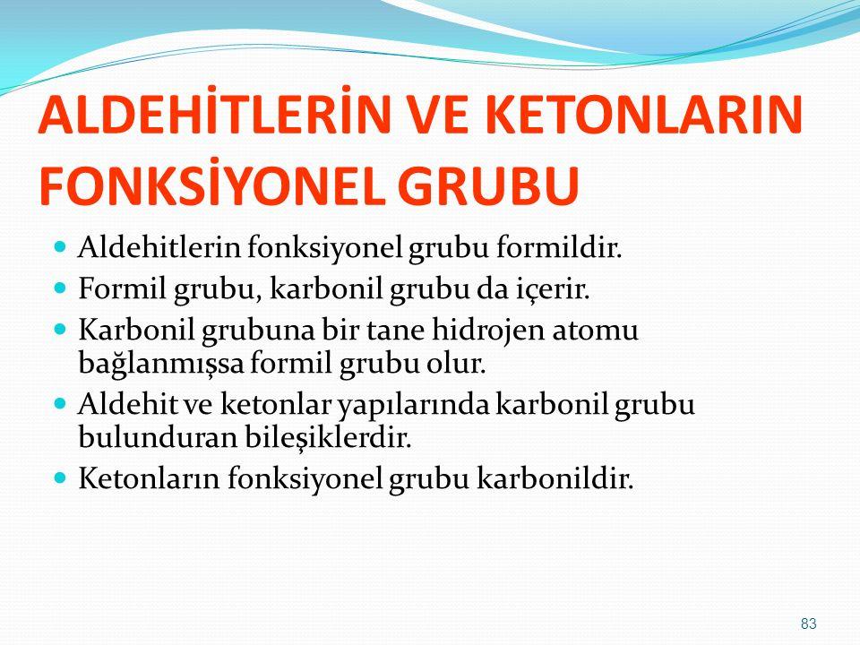 ALDEHİTLERİN VE KETONLARIN FONKSİYONEL GRUBU