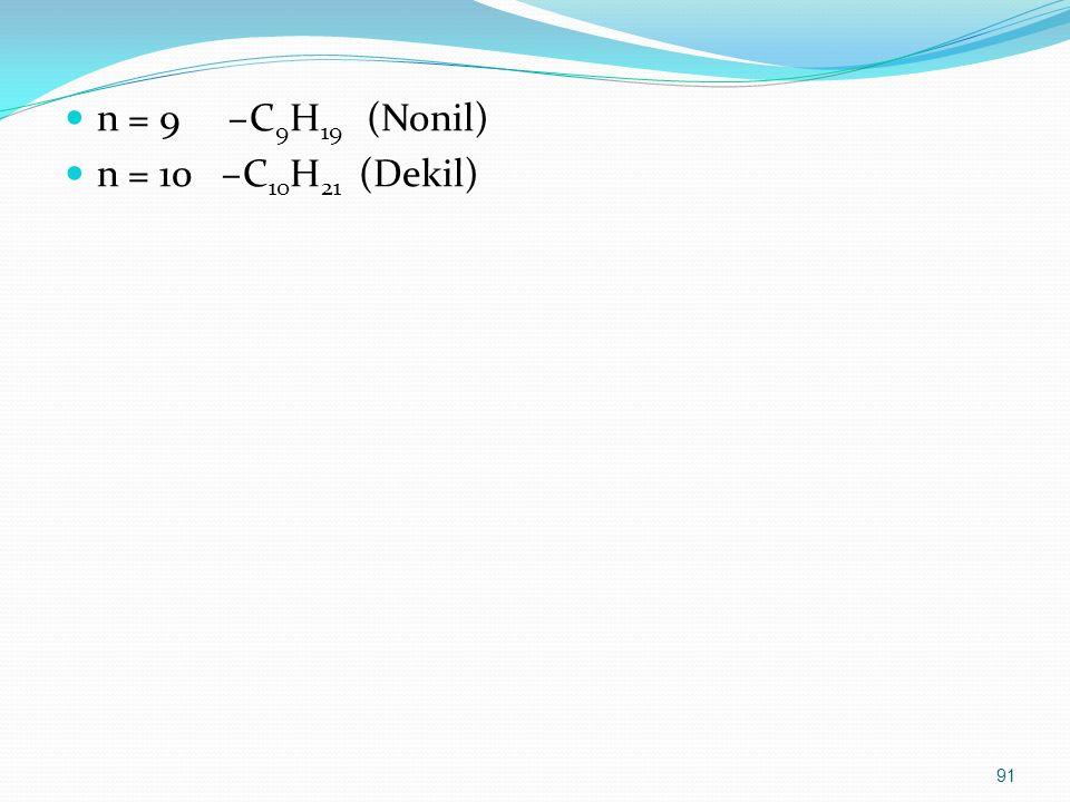 n = 9 –C9H19 (Nonil) n = 10 –C10H21 (Dekil)