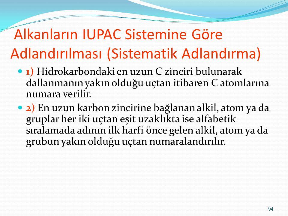Alkanların IUPAC Sistemine Göre Adlandırılması (Sistematik Adlandırma)