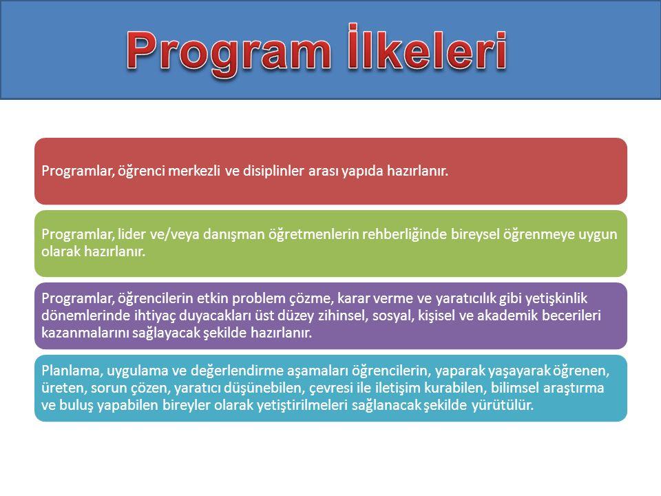 Program İlkeleri Programlar, öğrenci merkezli ve disiplinler arası yapıda hazırlanır.