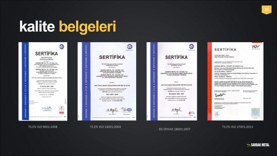 kalite belgeleri 26 TS EN ISO 9001:2008 TS EN ISO 14001:2004