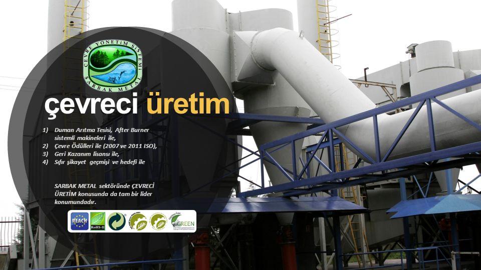 çevreci üretim Duman Arıtma Tesisi, After Burner sistemli makineleri ile, Çevre Ödülleri ile (2007 ve 2011 ISO),