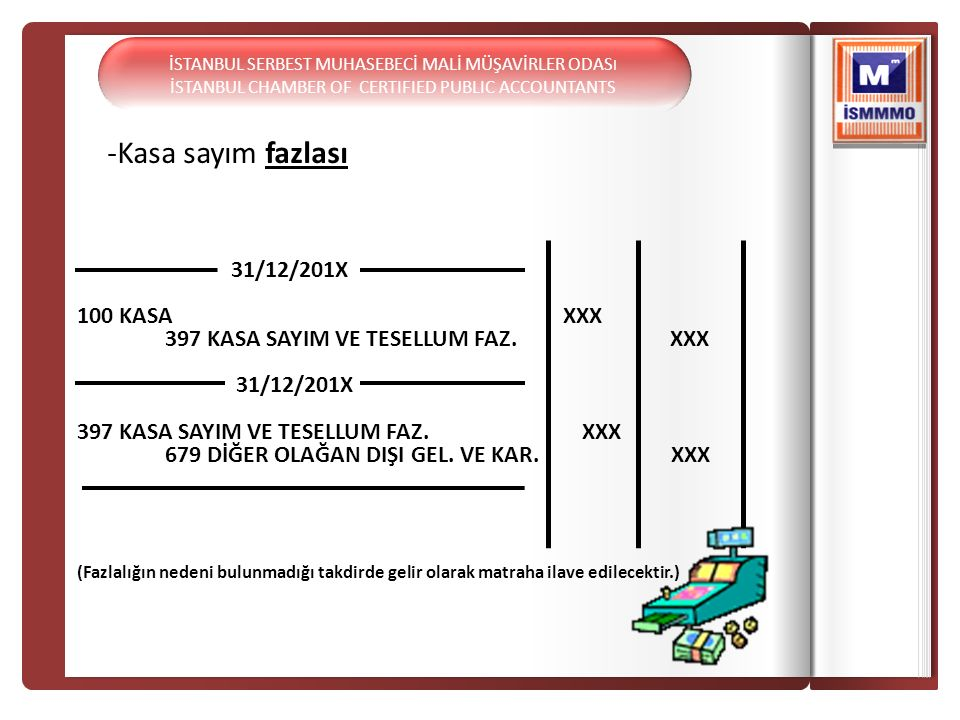 -Kasa sayım fazlası 31/12/201X 100 KASA XXX