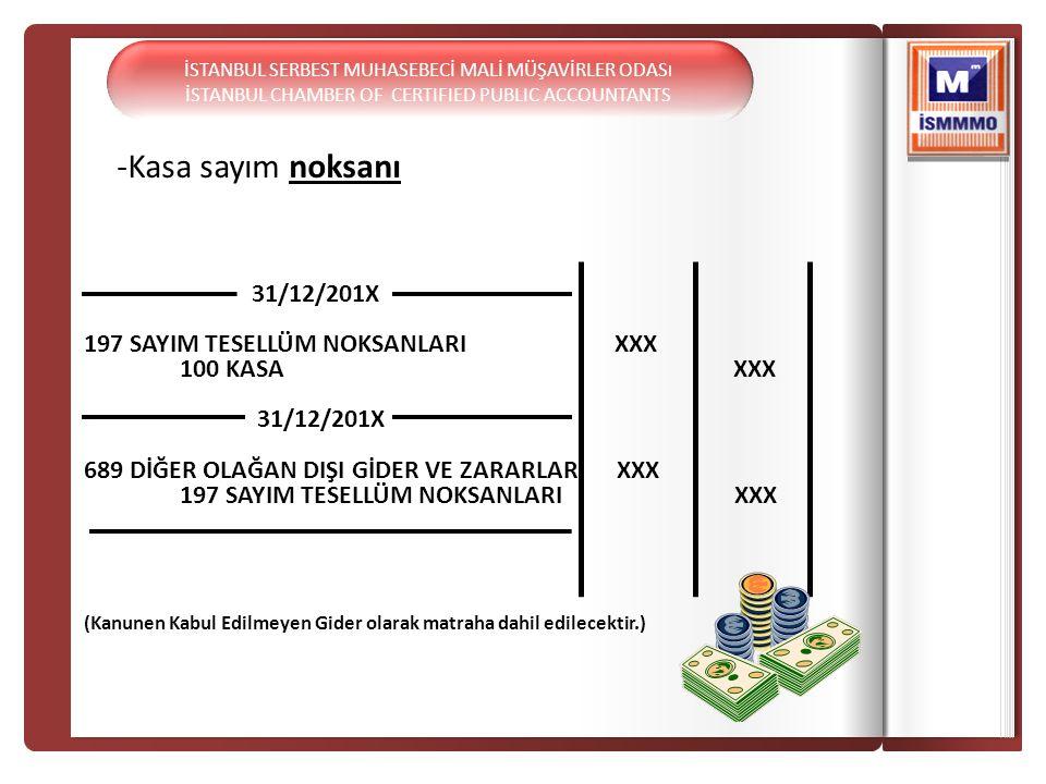 -Kasa sayım noksanı 31/12/201X 197 SAYIM TESELLÜM NOKSANLARI XXX