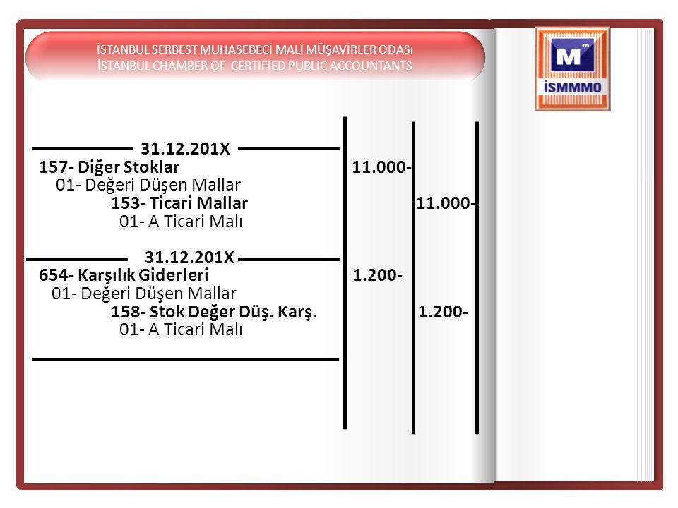 31.12.201X 157- Diğer Stoklar 11.000- 01- Değeri Düşen Mallar