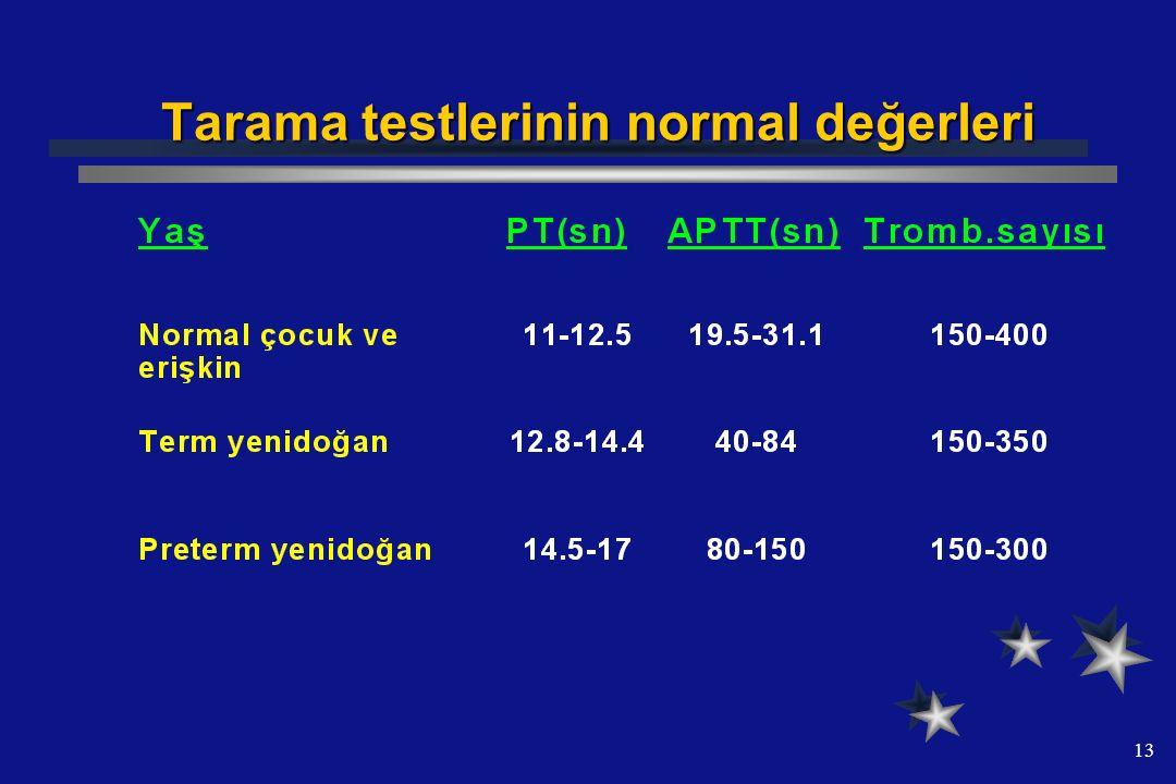 Tarama testlerinin normal değerleri