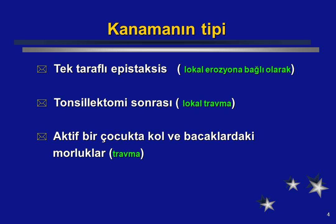 Kanamanın tipi Tek taraflı epistaksis ( lokal erozyona bağlı olarak)