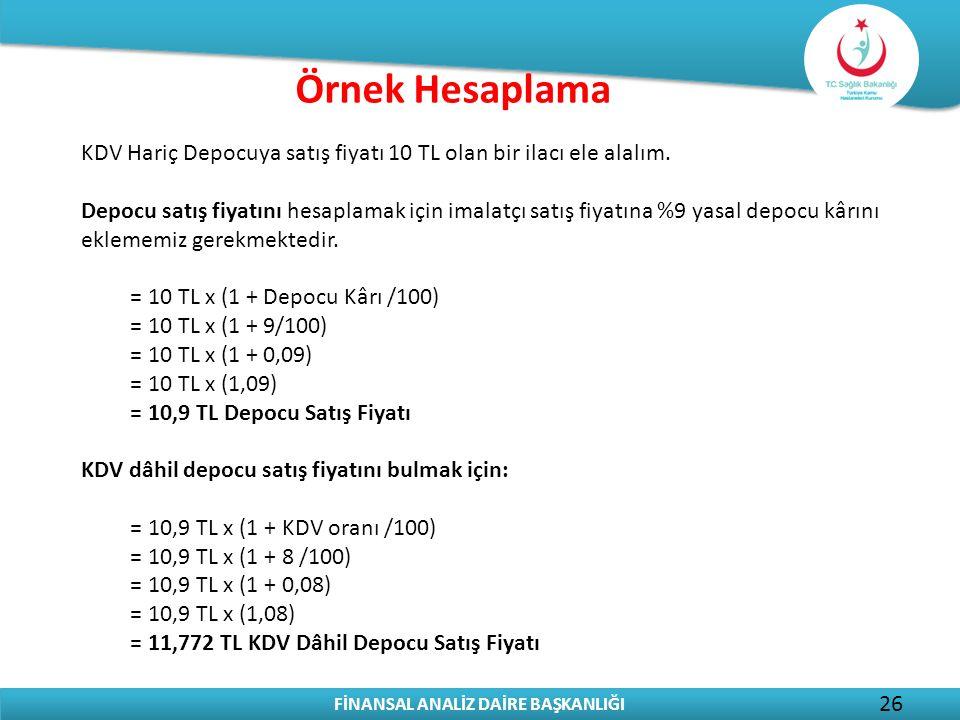 Örnek Hesaplama KDV Hariç Depocuya satış fiyatı 10 TL olan bir ilacı ele alalım.