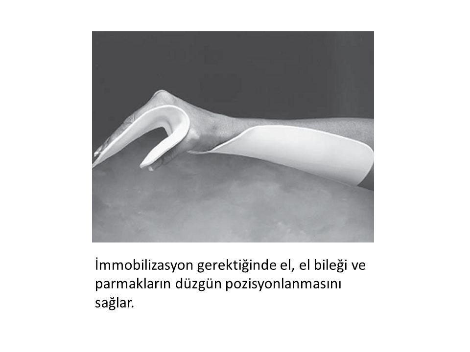 İmmobilizasyon gerektiğinde el, el bileği ve parmakların düzgün pozisyonlanmasını sağlar.