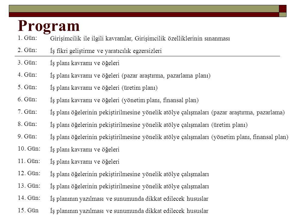 Program 1. Gün: Girişimcilik ile ilgili kavramlar, Girişimcilik özelliklerinin sınanması. 2. Gün: