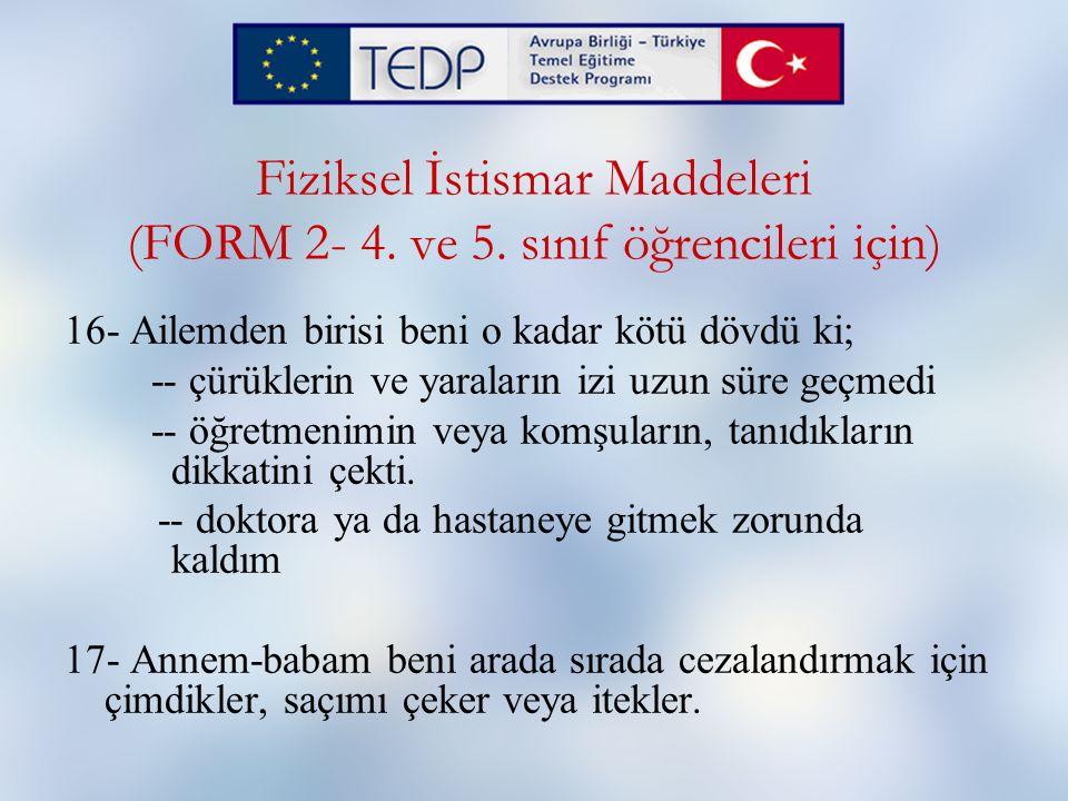Fiziksel İstismar Maddeleri (FORM 2- 4. ve 5. sınıf öğrencileri için)