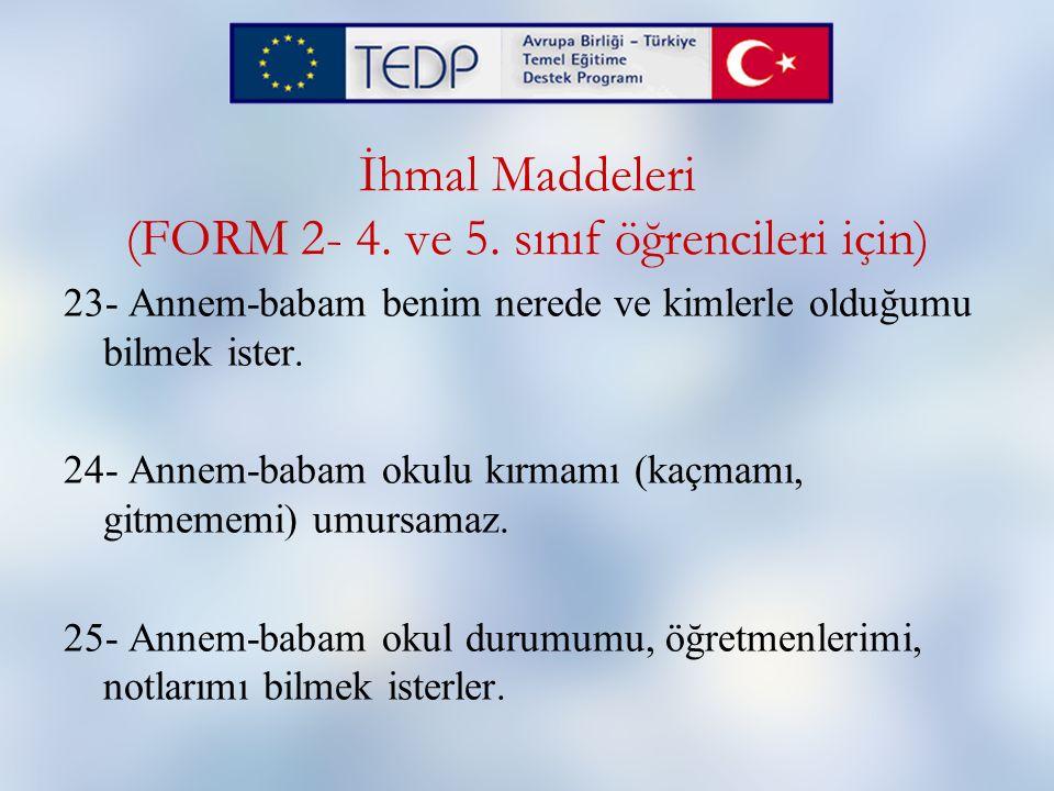 İhmal Maddeleri (FORM 2- 4. ve 5. sınıf öğrencileri için)