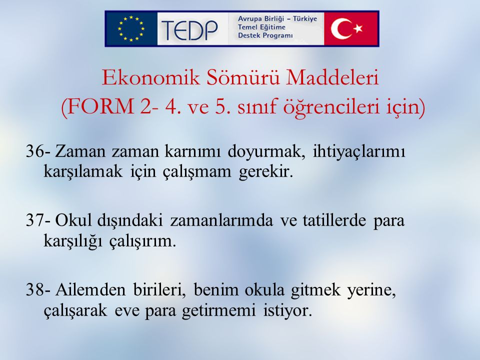 Ekonomik Sömürü Maddeleri (FORM 2- 4. ve 5. sınıf öğrencileri için)