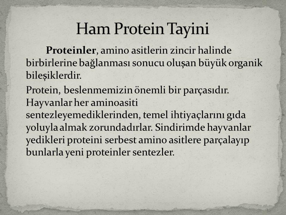 Ham Protein Tayini Proteinler, amino asitlerin zincir halinde birbirlerine bağlanması sonucu oluşan büyük organik bileşiklerdir.