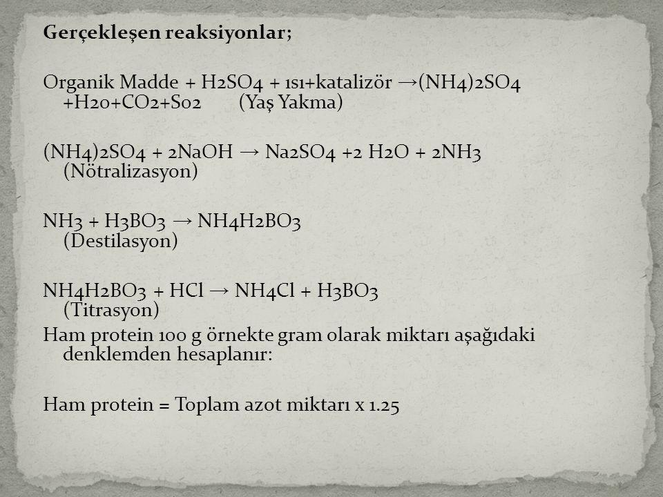 Gerçekleşen reaksiyonlar; Organik Madde + H2SO4 + ısı+katalizör →(NH4)2SO4 +H20+CO2+S02 (Yaş Yakma) (NH4)2SO4 + 2NaOH → Na2SO4 +2 H2O + 2NH3 (Nötralizasyon) NH3 + H3BO3 → NH4H2BO3 (Destilasyon) NH4H2BO3 + HCl → NH4Cl + H3BO3 (Titrasyon) Ham protein 100 g örnekte gram olarak miktarı aşağıdaki denklemden hesaplanır: Ham protein = Toplam azot miktarı x 1.25