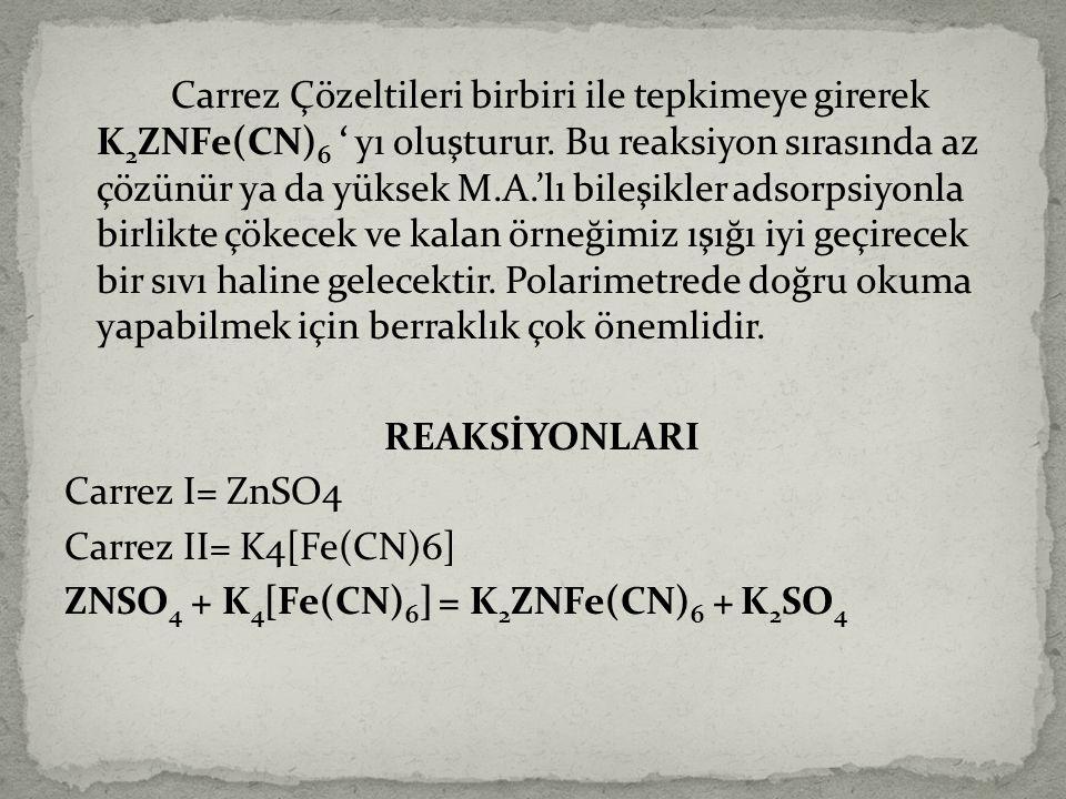 Carrez Çözeltileri birbiri ile tepkimeye girerek K2ZNFe(CN)6 ' yı oluşturur.