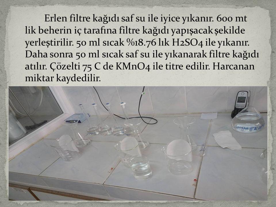 Erlen filtre kağıdı saf su ile iyice yıkanır