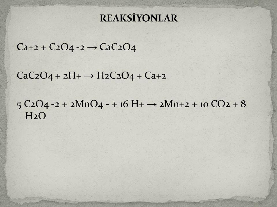 REAKSİYONLAR Ca+2 + C2O4 -2 → CaC2O4 CaC2O4 + 2H+ → H2C2O4 + Ca+2 5 C2O4 -2 + 2MnO4 - + 16 H+ → 2Mn+2 + 10 CO2 + 8 H2O