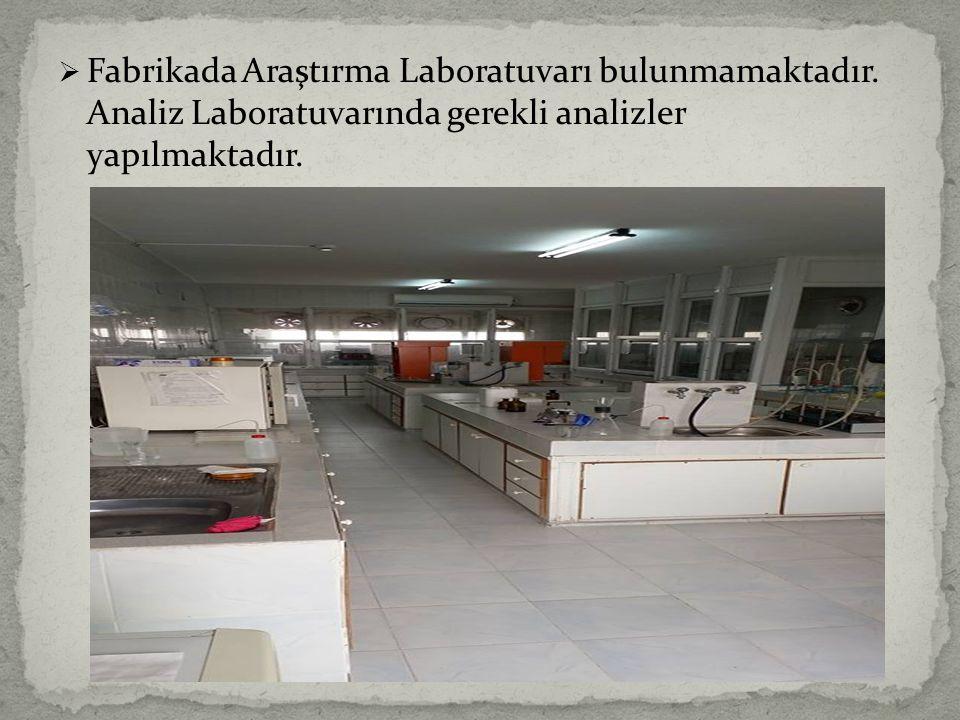 Fabrikada Araştırma Laboratuvarı bulunmamaktadır