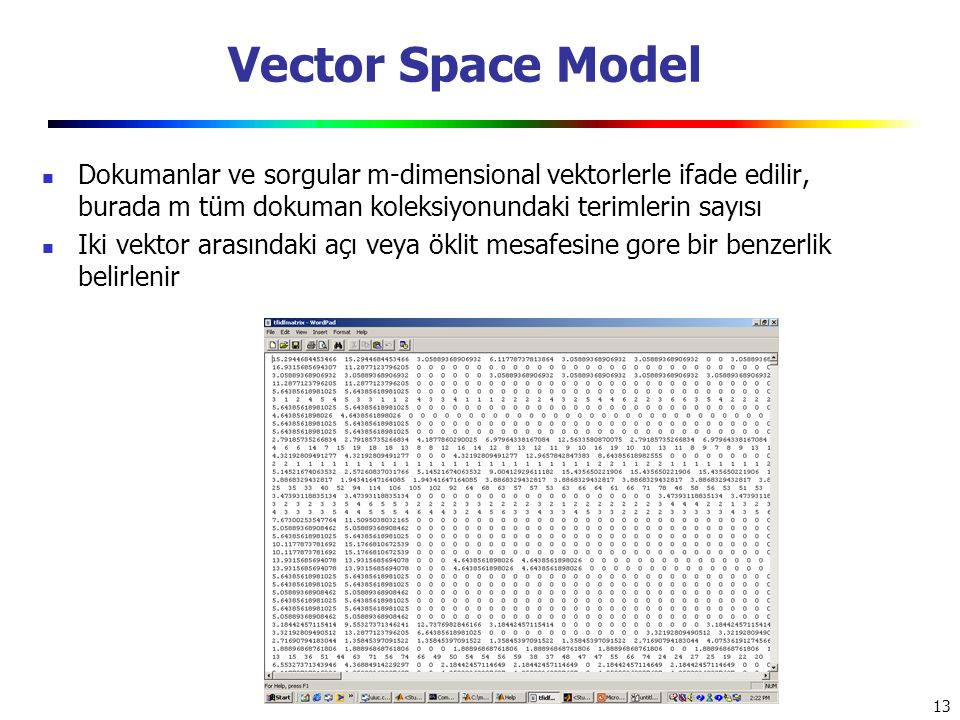 Vector Space Model Dokumanlar ve sorgular m-dimensional vektorlerle ifade edilir, burada m tüm dokuman koleksiyonundaki terimlerin sayısı.