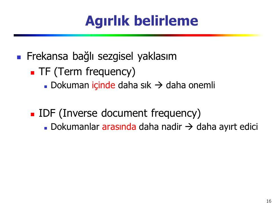 Agırlık belirleme Frekansa bağlı sezgisel yaklasım TF (Term frequency)