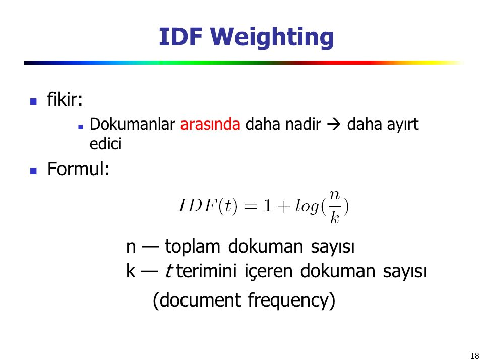 IDF Weighting fikir: Formul: