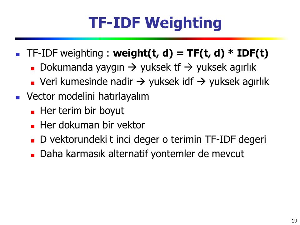 TF-IDF Weighting TF-IDF weighting : weight(t, d) = TF(t, d) * IDF(t)