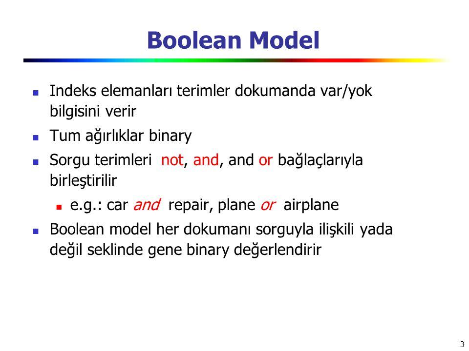 Boolean Model Indeks elemanları terimler dokumanda var/yok bilgisini verir. Tum ağırlıklar binary.
