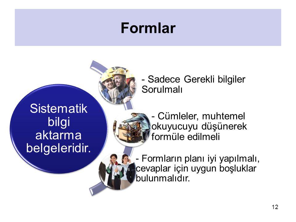 Sistematik bilgi aktarma belgeleridir.