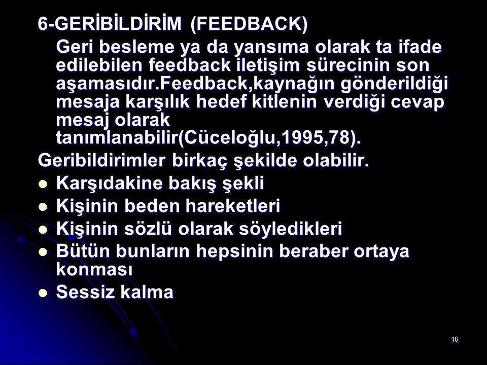 6-GERİBİLDİRİM (FEEDBACK)