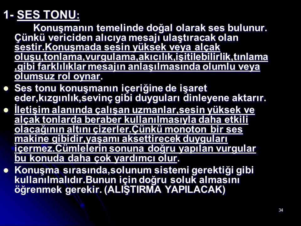 1- SES TONU: