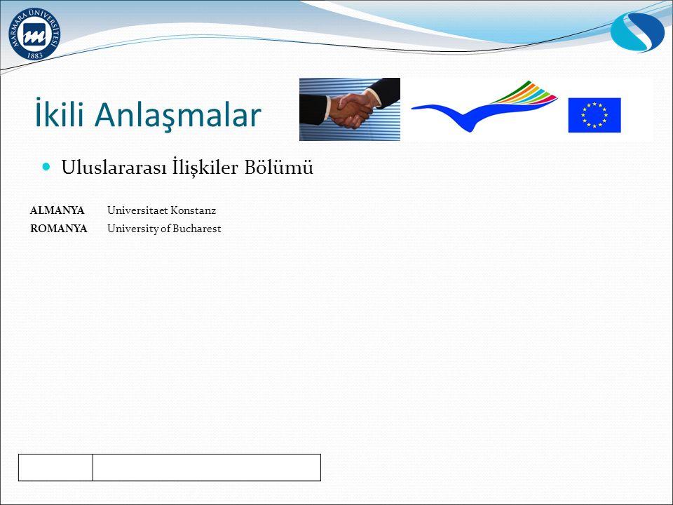 İkili Anlaşmalar Uluslararası İlişkiler Bölümü ALMANYA