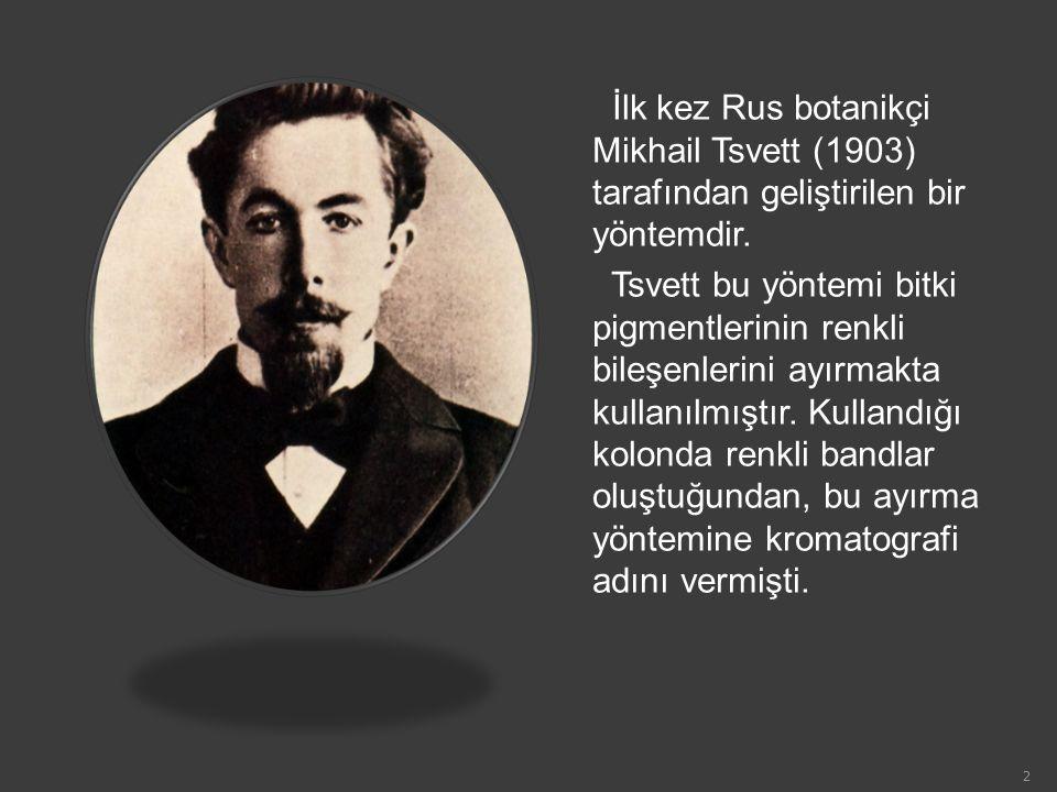 İlk kez Rus botanikçi Mikhail Tsvett (1903) tarafından geliştirilen bir yöntemdir.