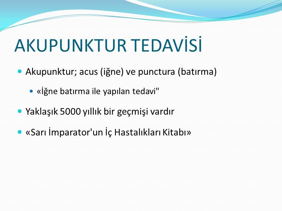 AKUPUNKTUR TEDAVİSİ Akupunktur; acus (iğne) ve punctura (batırma)