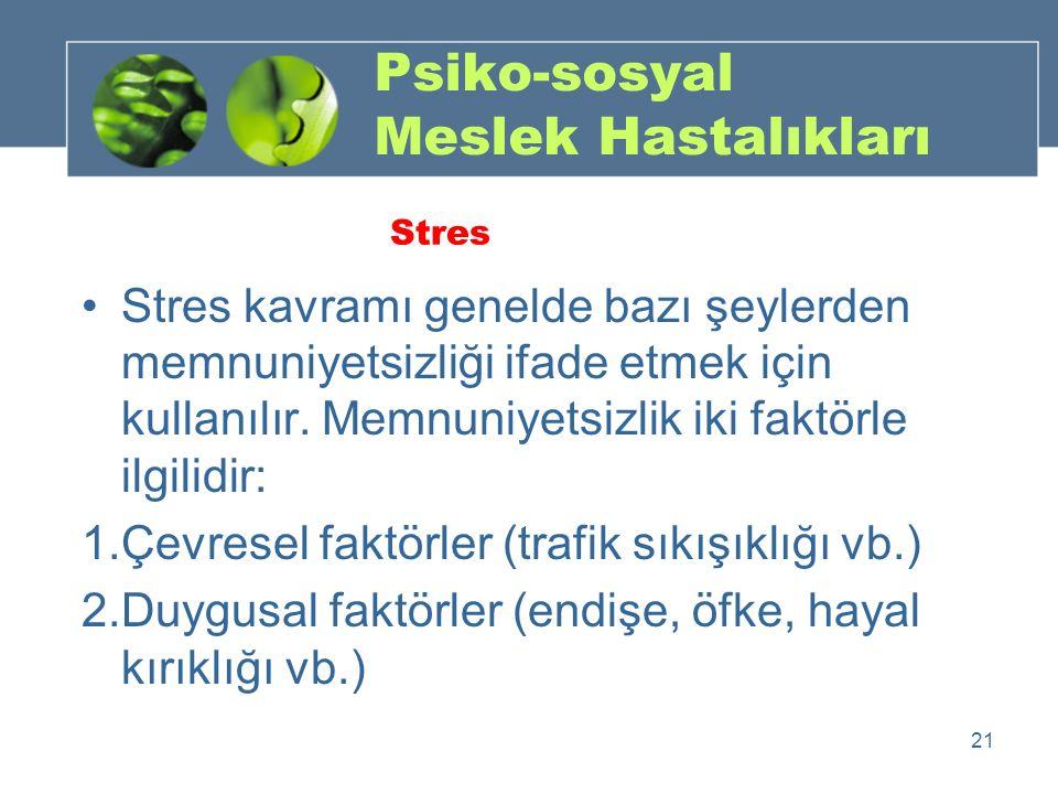 Psiko-sosyal Meslek Hastalıkları Stres