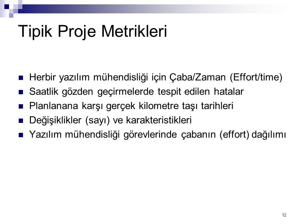 Tipik Proje Metrikleri