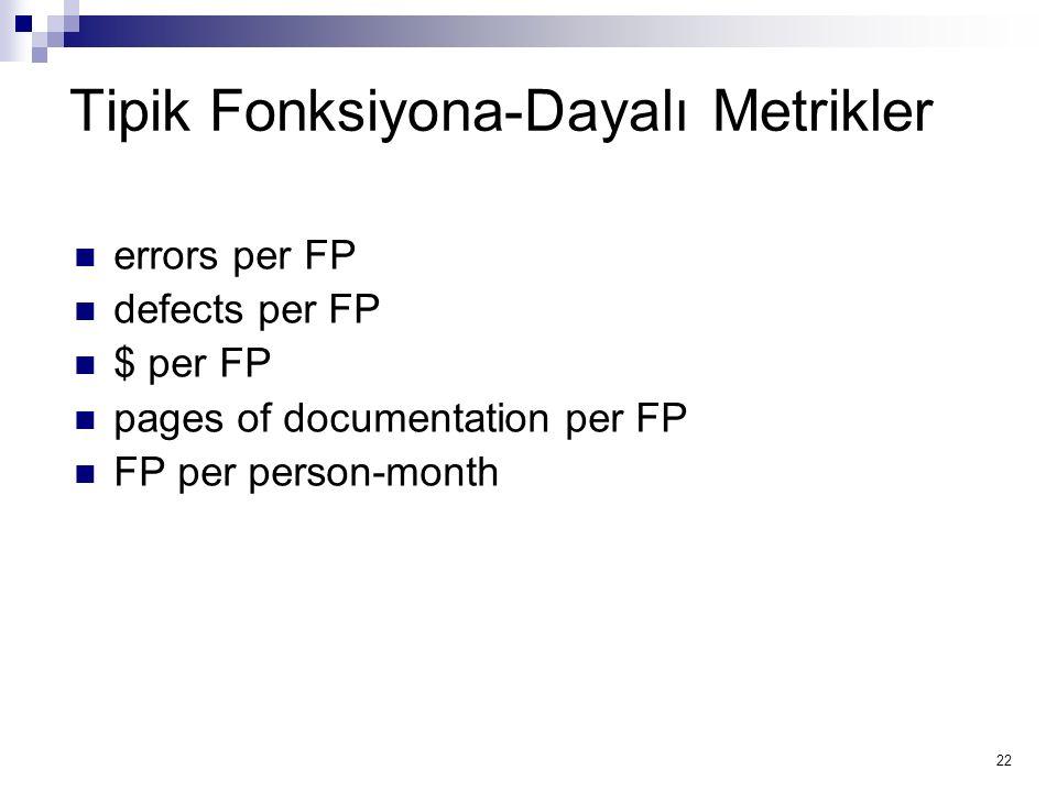 Tipik Fonksiyona-Dayalı Metrikler