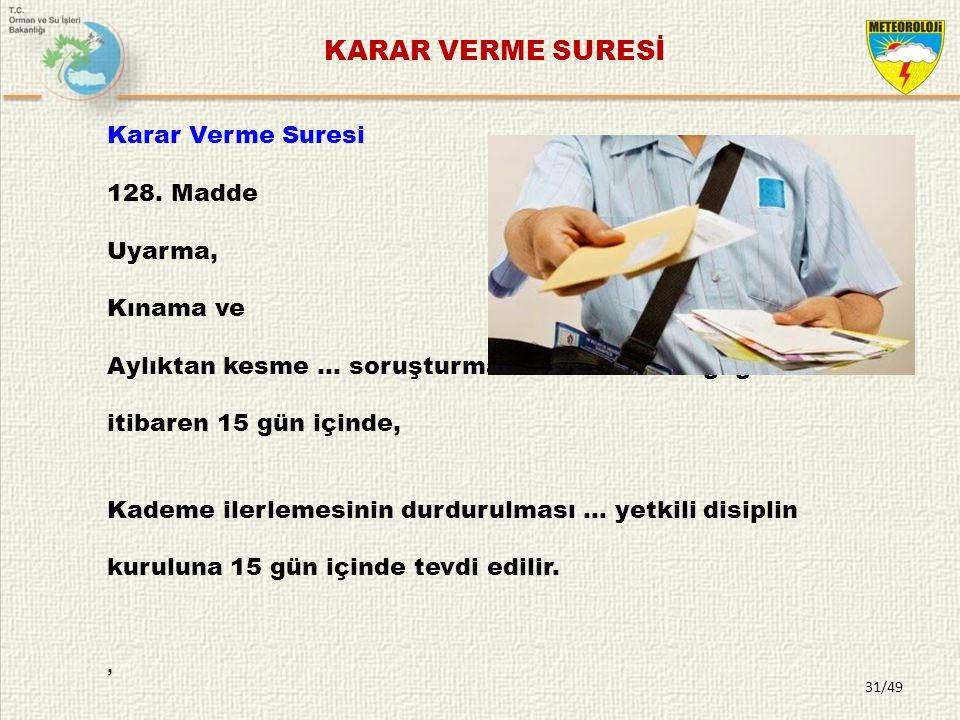 KARAR VERME SURESİ , Karar Verme Suresi 128. Madde Uyarma, Kınama ve